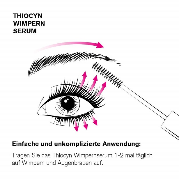 Anwendung Thiocyn Wimpernserum